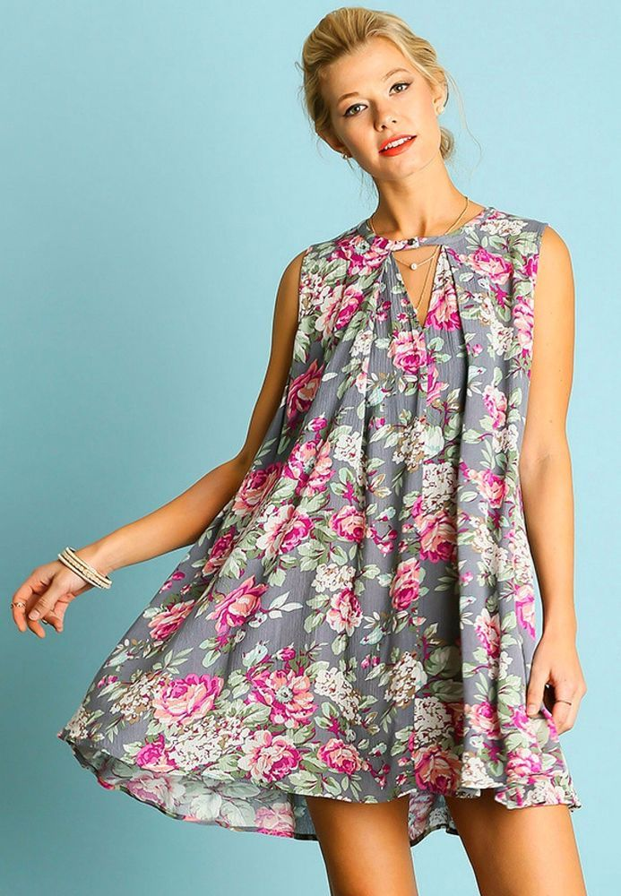 4c9f0e42c76 Umgee USA Sleeveless Grey Floral Print Trapeze Swing Dress or Tunic BOHO  70s S-L