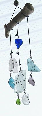 sea glass wind chime/sun catcher, by Zamzam Just finished two of them....beautiful and unique!!