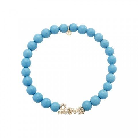 Small Yellow-Gold & Diamond Love Bead on Blue Turquoise
