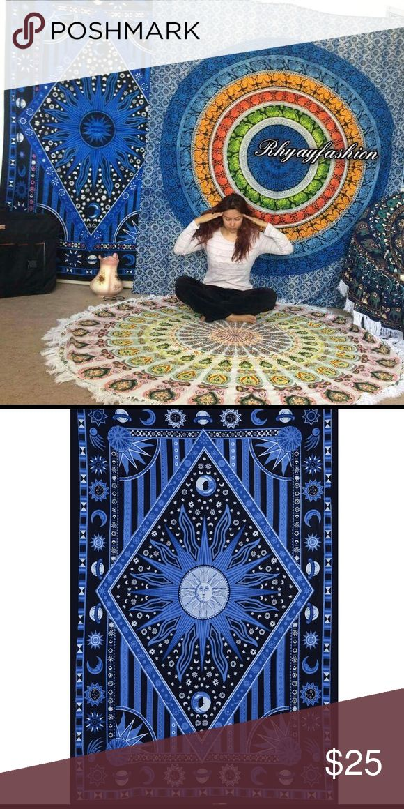 """Dorm room decor wall hanging tapestry mandala Wall hanging Bed Couch Cover   This beautiful multi use spread is hand screen printed on cotton fabric. Can be used a bedspread, Bed Sheets, couch spread, wall hanging or celling decoration. It will look great indoor or outdoor for little picnic or tipi for sleepover parties and music festivals.  Size: 87"""" X 54"""" inch (Twin bed)  Material : 100% Cotton  Wash: Cold hand wash or Machine Delicates cycle & Air dry Other"""