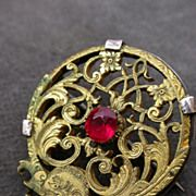 Vintage french bronze carved brooch sterling silver frame red stone gold plated