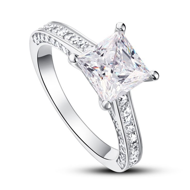 Inel din argint cu cristale Donelle Cristal Princess Cut -  Cubic Zirconia (Simulated Diamonds) Cristale mici Swarovski Elements
