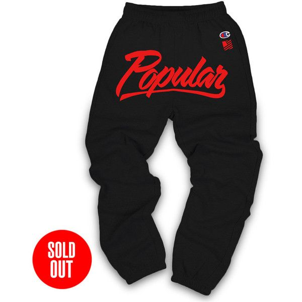 Champion Popular Sweats Black Red ($50) ❤ liked on Polyvore featuring activewear, activewear pants, pants, bottoms, sweats, sweatpants, champion sportswear, cotton sweatpants, red sweat pants and sweat pants