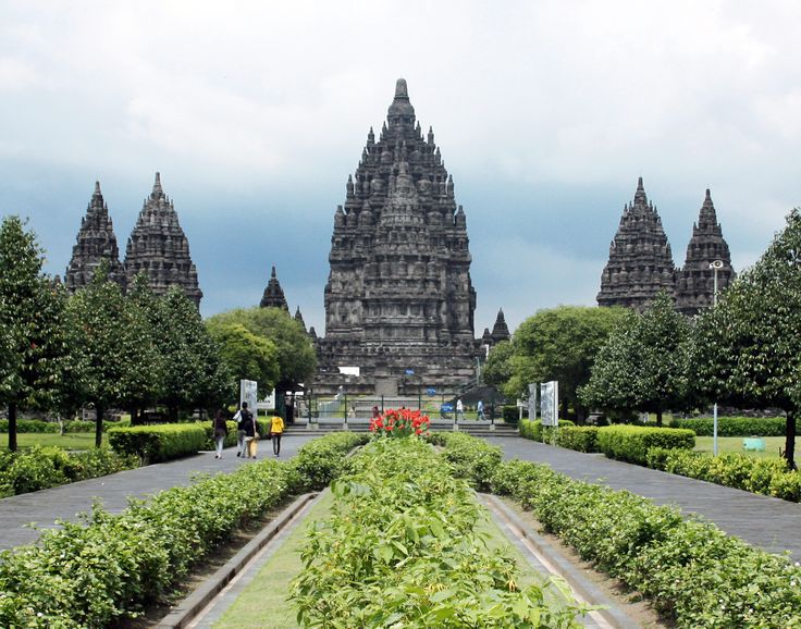 Prambanan Trimurti --- The 9th century Hindu Trimurti temple Prambanan, located on the border between Yogyakarta and Central Java province. The three largest temple is dedicated to Shiva in the centre, Brahma on the left, and Vishnu on the right.