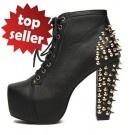 Sexy Punk Rock Stiefel Stiefeletten plateau stiefeletten mit nieten High Heels Keil Pumps Nieten Boots Damenschuhe Schwarz                                     Sonderpreis: 45,99 €