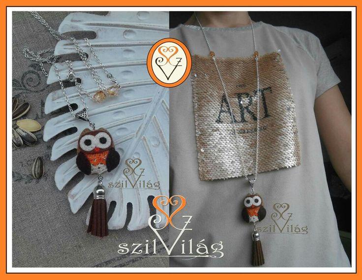 www.facebook.com/szilvilag  egyedi kézzel varrt gyapjúfilc bagoly medál  #jewel, #felt #handmade #szilvilág #owl #jewelry #fashion #divat