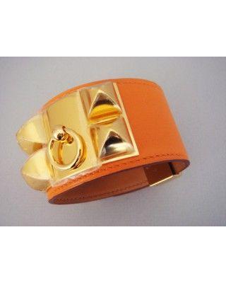 Hermes Collier De Chien Orange Cdc Bracelet Ghw Gold NIB Auth