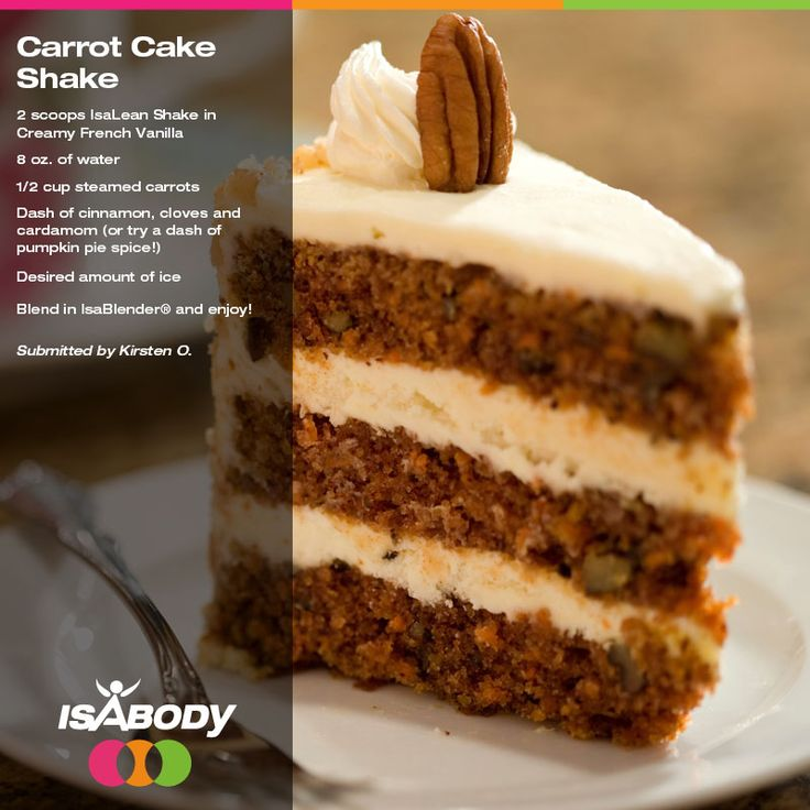 The IsaBody Facebook group is in love with this delicious Carrot Cake Shake made with IsaLean® Shake in Creamy French Vanilla! Give it a try and spice up y