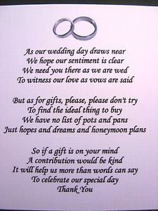 20 Wedding poems asking for money gifts not presents Ref No 4 | eBay