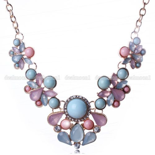 Fashion-Charm-Pendant-Chain-Crystal-Jewelry-Choker-Chunky-Statement-Bib-Necklace