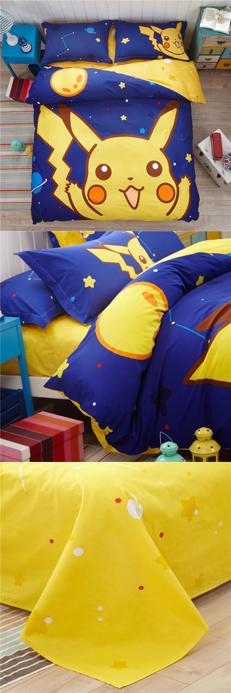 [Visit to Buy] Cartoon Pikachu Bedding Set Child Twin Full Queen Christmas Beddings Kids Cartoon Anime Pokemon Duvet Cover/Bed Sheet/Pillowcase #Advertisement