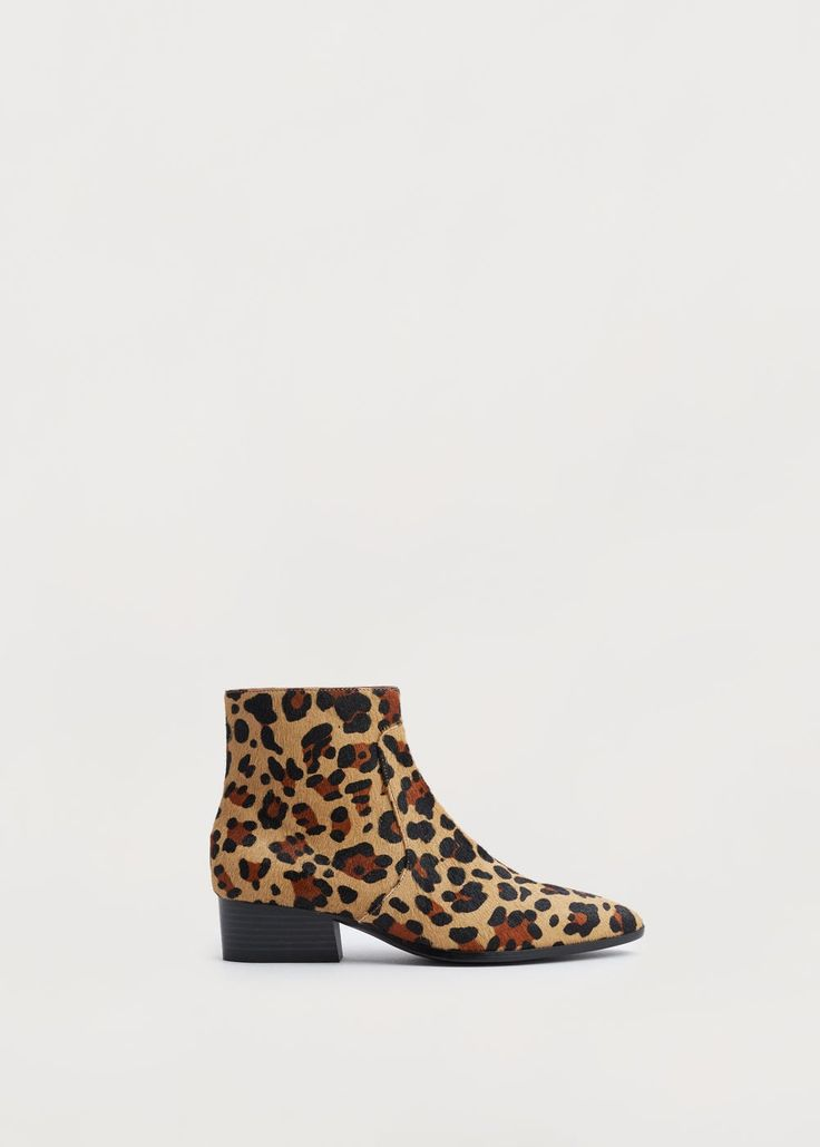 Fur leather ankle boots | MANGO