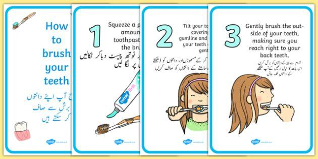 How To Brush Your Teeth Posters Urdu Translation - urdu, Dentists
