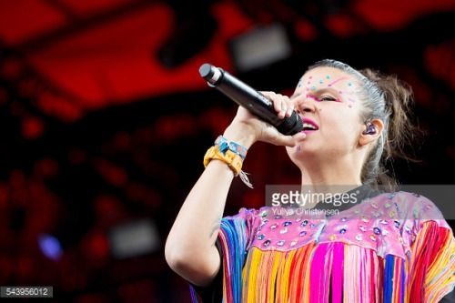 ROSKILDE, DENMARK - JUNE 30: Liliana Saumet from Bomba Estereo... #bomba: ROSKILDE, DENMARK - JUNE 30: Liliana Saumet from Bomba… #bomba