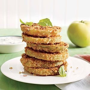 """Pickled """"Fried"""" Green Tomatoes with Buttermilk-Herb Dipping Sauce - SBD2"""