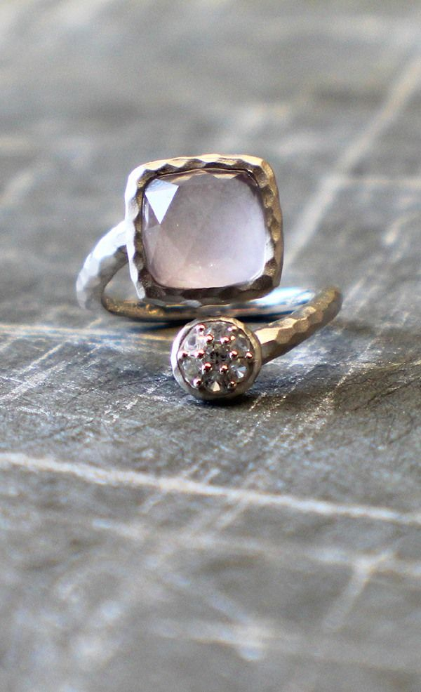 This ring has a light and airy amethyst color with a twist.