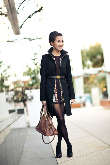 Coat :: Zara  Dress :: Missoni for Target (Girls)  Shoes :: Christian Louboutin 'Minibouts' (old)  Bag :: Chloe Paraty  Accessories :: YSL Arty ring, Tibi belt