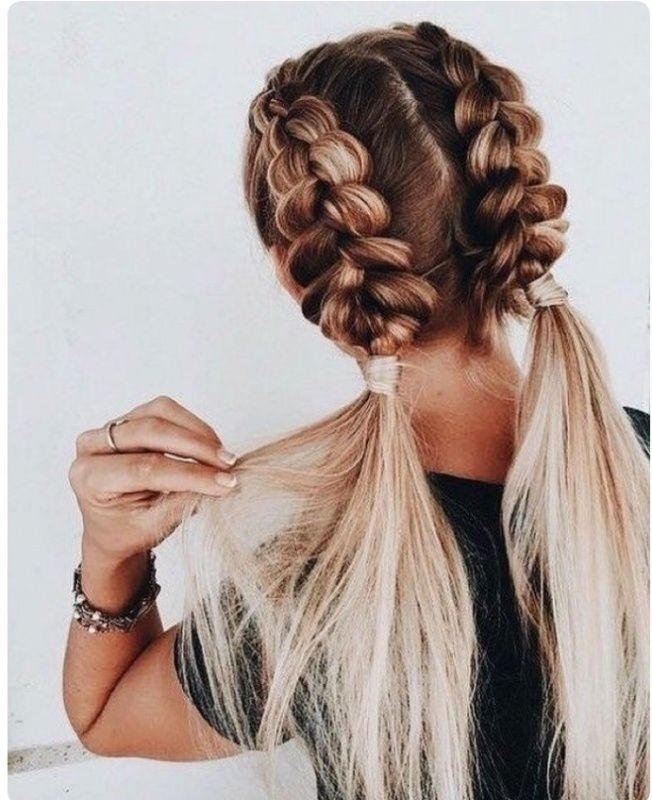 Double Inside Out Braids Two Braided Pigtails Workout Hairstyle Hair Inspiration Hair Inspo C Hair Styles Fishtail Braid Hairstyles Braided Hairstyles Easy