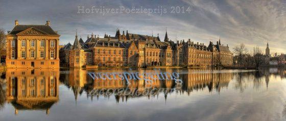 Hofvijver spiegelt Aan de rand wijst een handje Den Haag dubbel mooi