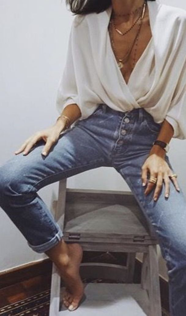 Spring:  White drape shirt + high waist button fly straight leg jeans + layered gold necklaces