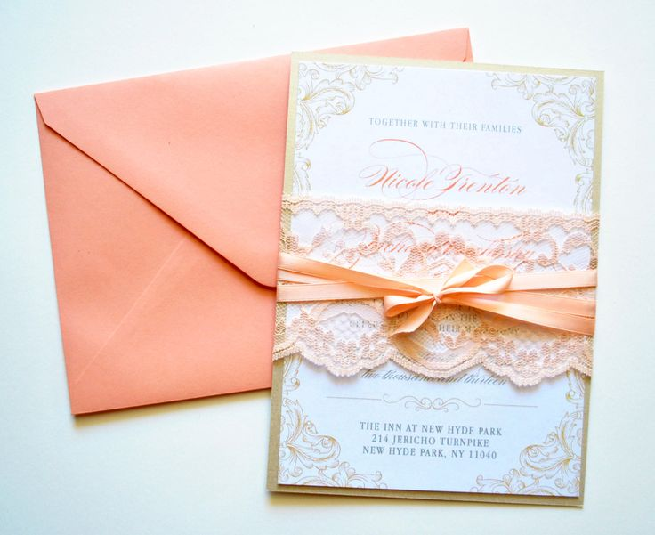 Peach Lace Wedding Invitations Rustic Lace by WhimsyBDesigns, $6.95