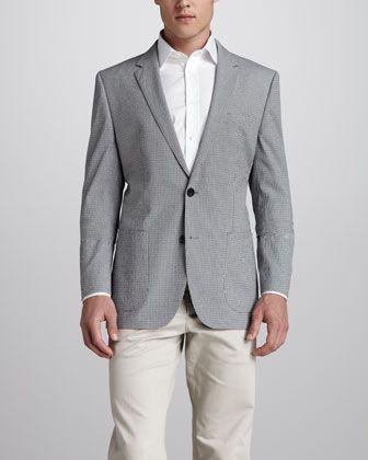 $267, Grey Seersucker Blazer: Hugo Boss Check Seersucker Blazer Olivenavywhite. Sold by Neiman Marcus. Click for more info: http://lookastic.com/men/shop_items/63018/redirect