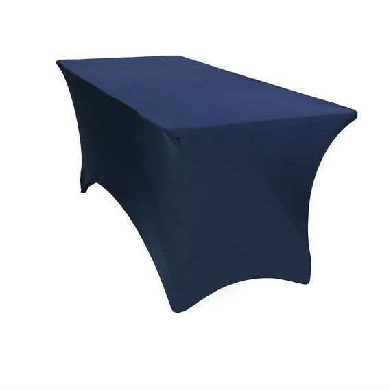6 FT Rectangular Spandex Table Covers Navy Blue   Wholesale Tablecloths