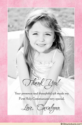Image detail for -Pink First Holy Communion Photo Thank You - Color Girl Card