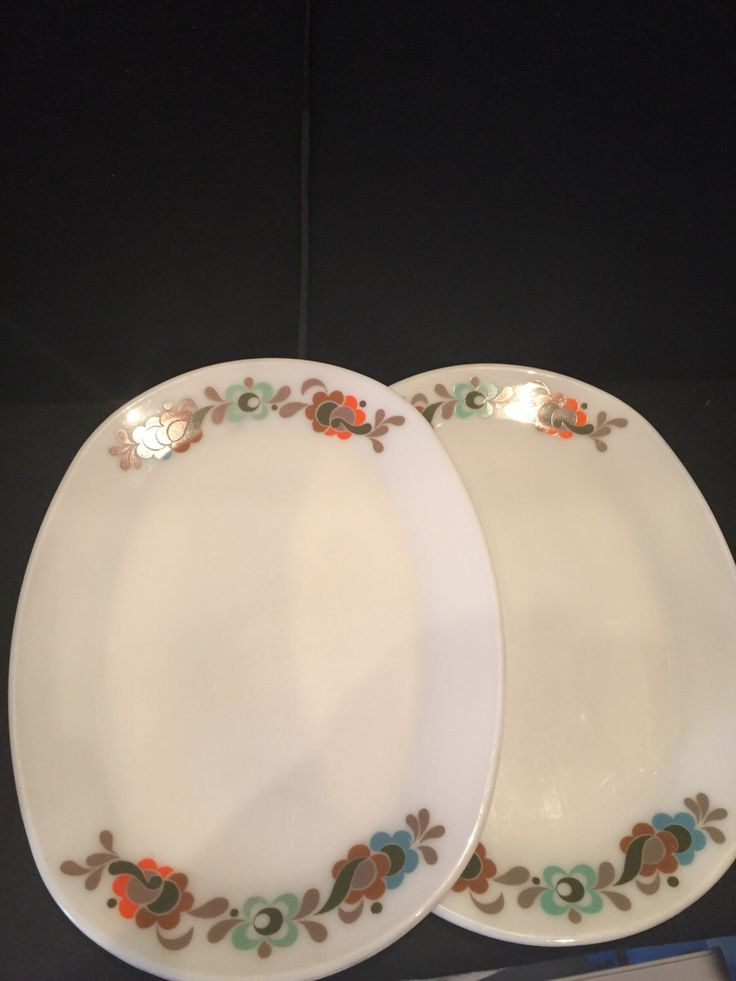 A pair of Vintage retro Jaj pyrex oval dinner steak plates & 25+ best Vintage Plates images on Pinterest | Vintage dishes ...
