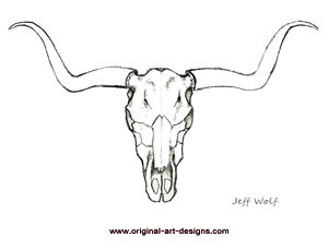 longhorn skull drawings - Google Search