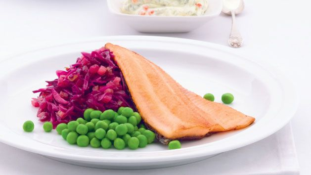 Rainbow trout with pan-fried red cabbage and salmon roe cream