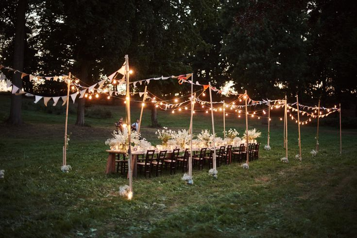 kolacja-zalando #wedding #table #forest #outside #rustic #candles #flowers