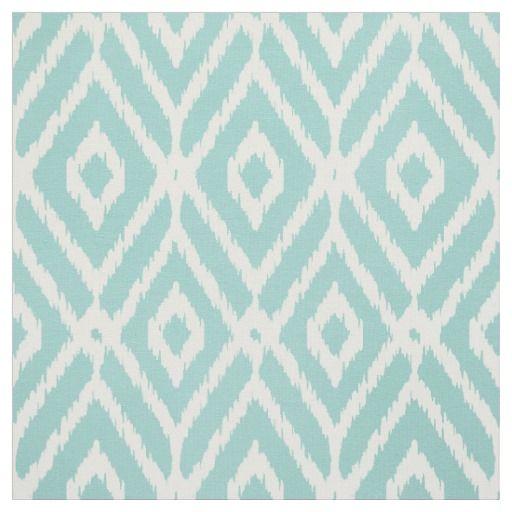 Chic Turquoise Ikat Tribal Diamond Pattern Fabric