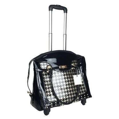 """Joymax 18"""" L Computer/Laptop Carry Bag Duffel Rolling 4Wheel Spinner Luggage Houndstooth Gold"""
