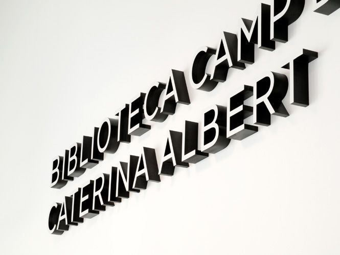 ALCHEMIKA Public Library Signage. Sign System for the Caterina Albert Public Library in Camp de l'Arpa. Biblioteques de Barcelona.