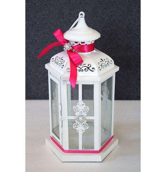 Wedding lantern centerpiece antique white ivory finish