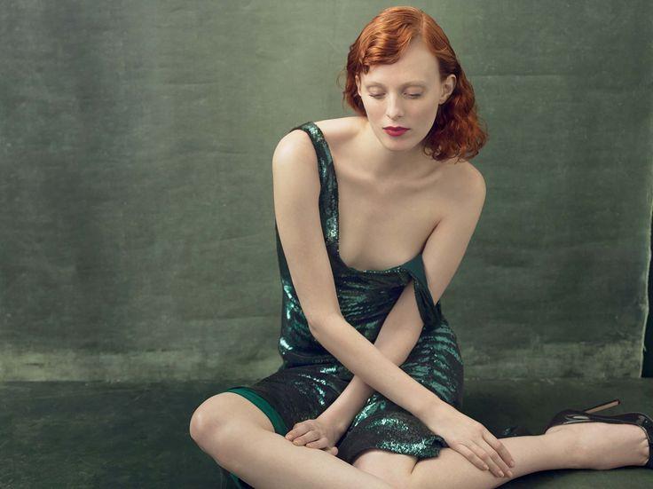 Karen Elson in Calvin Klein by Annie Leibovitz for Vogue August 2014