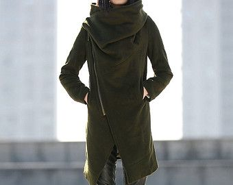 Army Green Warm Coat - Ladies Women Winter Outerwear Jacket with Big Cowl Neck and Zipper