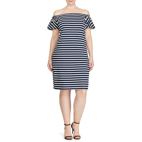 Lauren Ralph Lauren Plus Striped Off-the-Shoulder Dress ($43) ❤ liked on Polyvore featuring plus size women's fashion, plus size clothing, plus size dresses, indigo, blue off the shoulder dress, blue off shoulder dress, cotton jersey, indigo dress and stripe dresses