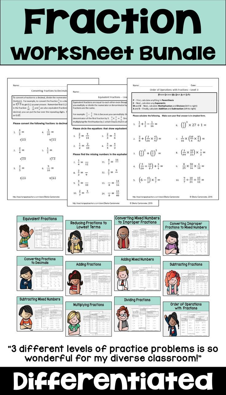 small resolution of This fraction worksheet bundle has differentiated worksheets for 3rd