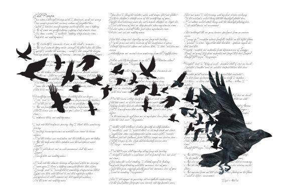 Raven or Crow Vintage Poetry Illustration Art by sassanfilsoof.