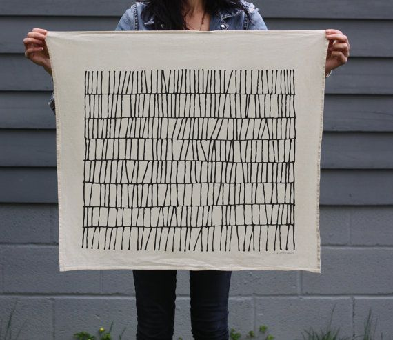 THATCH Tea Towel  Screen Printed Organic Cotton by LittleKorboose, $18.00
