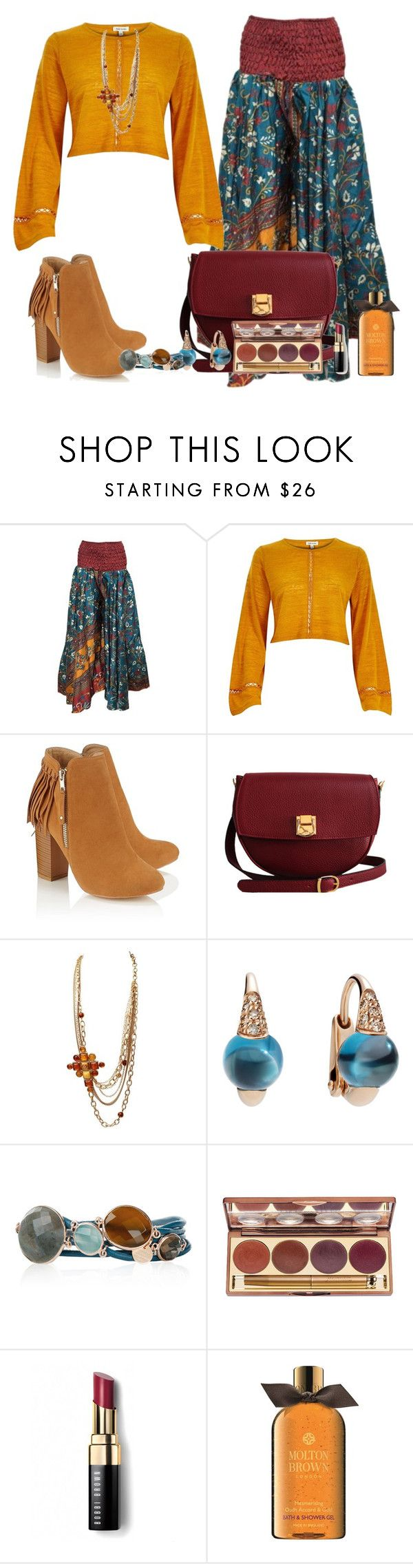 """River Island Dark Yellow Bell Sleeve Crop Top"" by akgsteeler ❤ liked on Polyvore featuring River Island, Lipsy, The Code, Pomellato, Marjana von Berlepsch, Jane Iredale, Bobbi Brown Cosmetics and Molton Brown"
