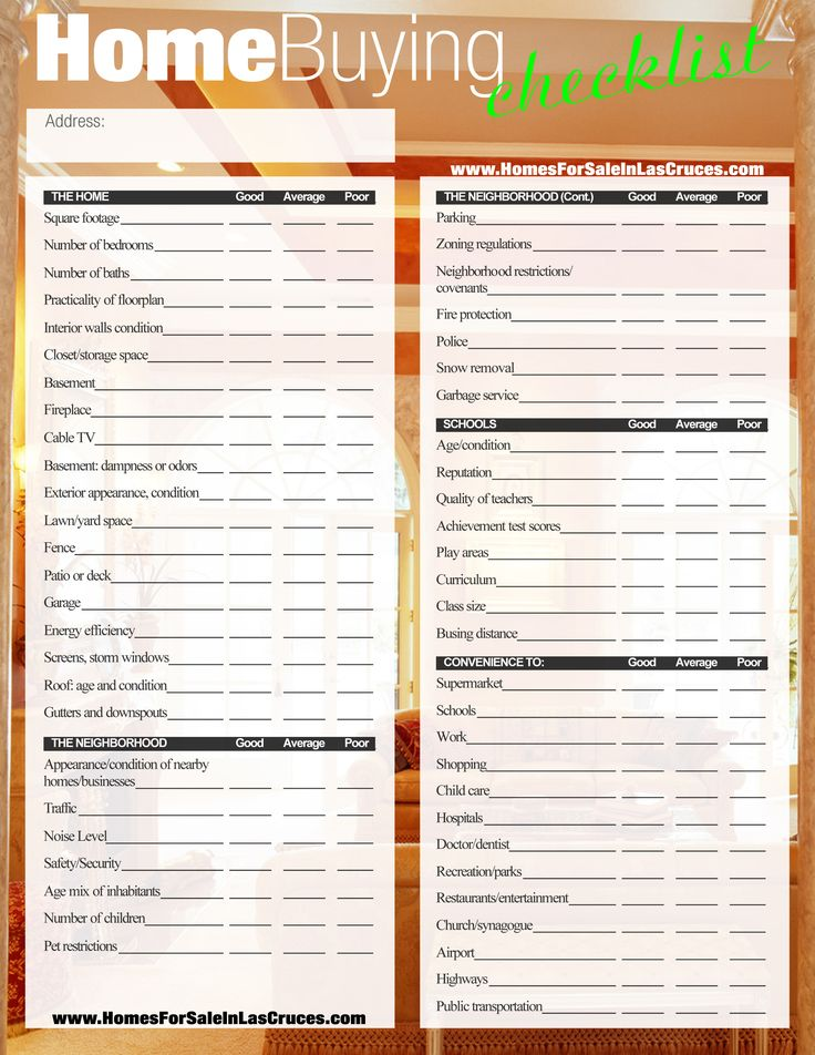 Home buying checklist pinteres for Selection sheet for home selections for builders