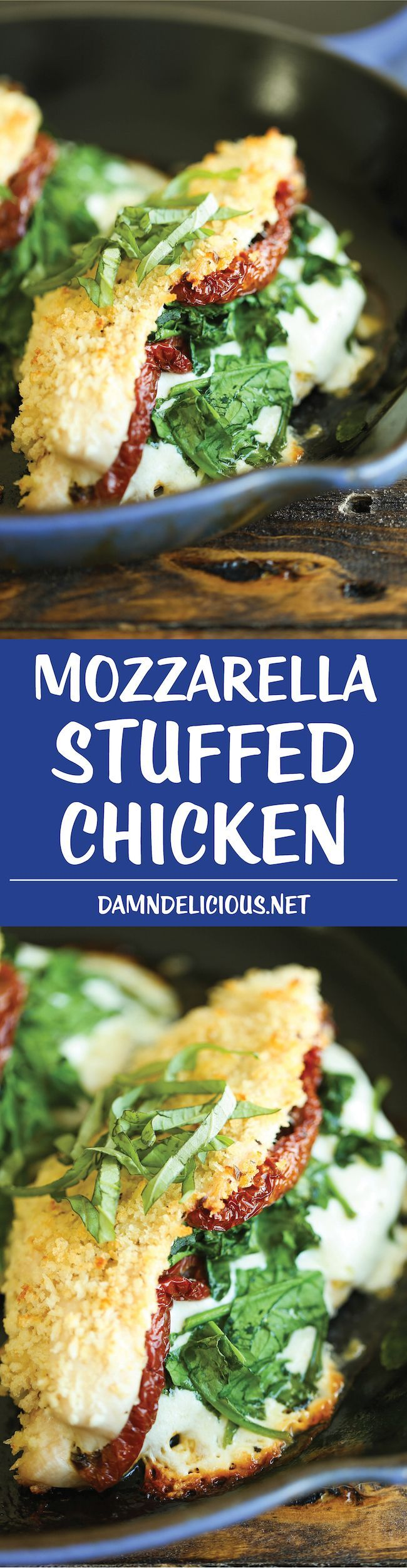 Mozzarella Stuffed Chicken - Chicken breasts stuffed with mozzarella, spinach, and sun dried tomatoes - baked to absolute crisp-tender cheesy perfection!