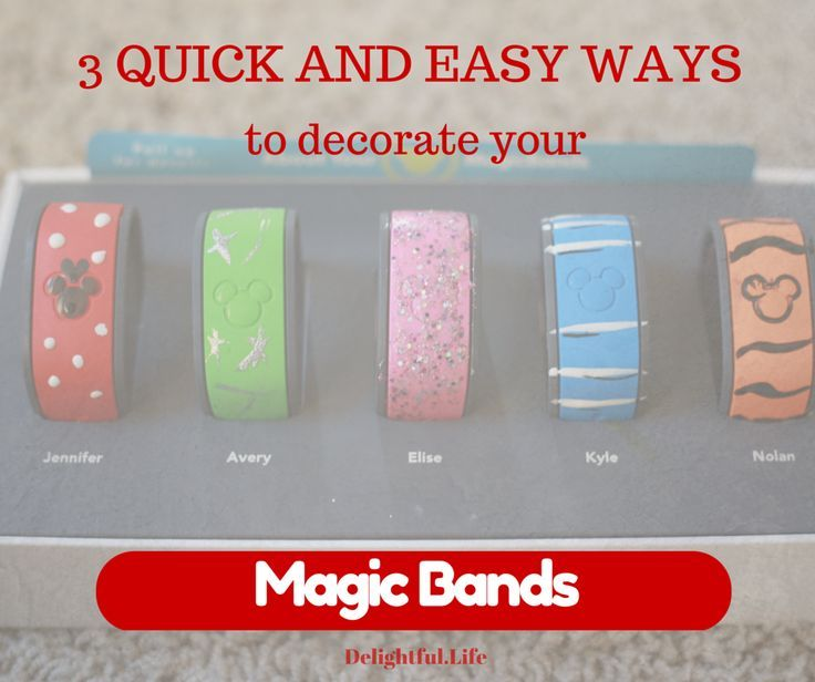 Heading to Walt Disney World? Just back? Decorate your magic bands as a fun fashion accessory! These three methods are super quick and easy, and use things you probably have around your house (nail polish, stickers, temporary tattoos, glue and bling..