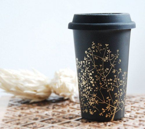 Coffee Always Tastes Better In A Pretty Cup: Travel Mugs, Hands Paintings Ceramics, Coffee To Go, Chalkboards Paintings, Coffee Cups, Baby Breath, Ceramics Mugs, Black Gold, Coff Cups
