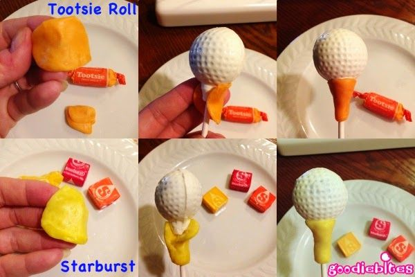 Golf ball cake pop tutorial. I never thought to use starburst!! I could use those for bows!