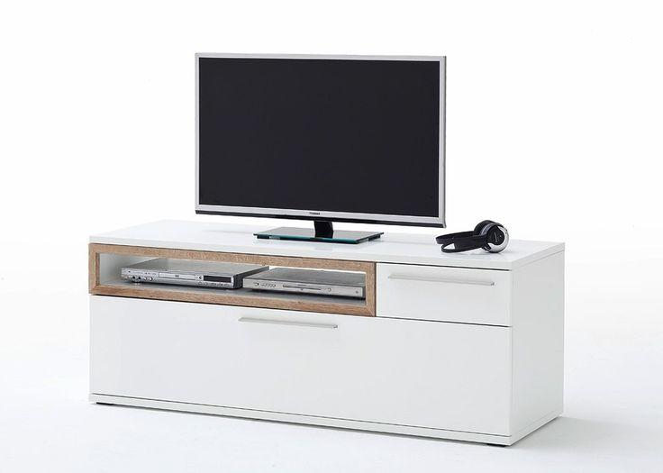 Lowboard Pamplona TV-Element Weiß Hochglanz mit Riviera Eiche 20743. Buy now at https://www.moebel-wohnbar.de/lowboard-pamplona-weiss-hg-mit-riviera-eiche-20743