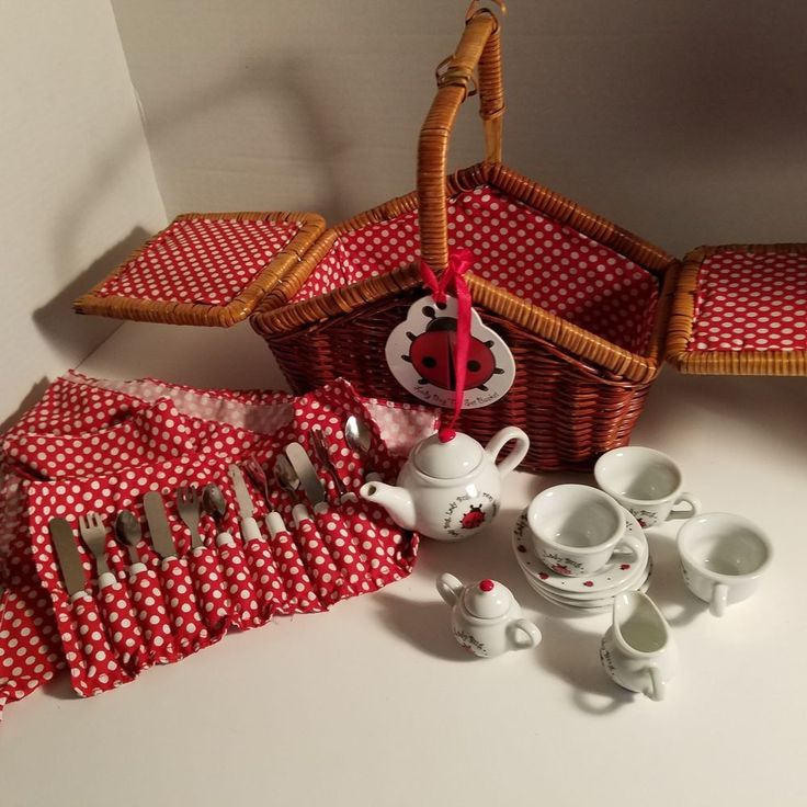 Schylling Lady Bug China Tea Set Kids Toy W/Napkins Tablecloth Wicker Picnic  #Schylling
